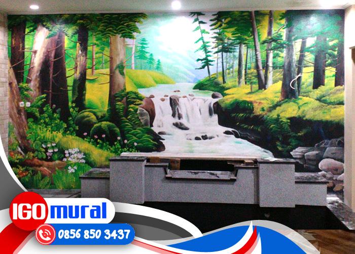 Contoh lukisan pemandangan air terjun lukisan mural for Mural hitam putih